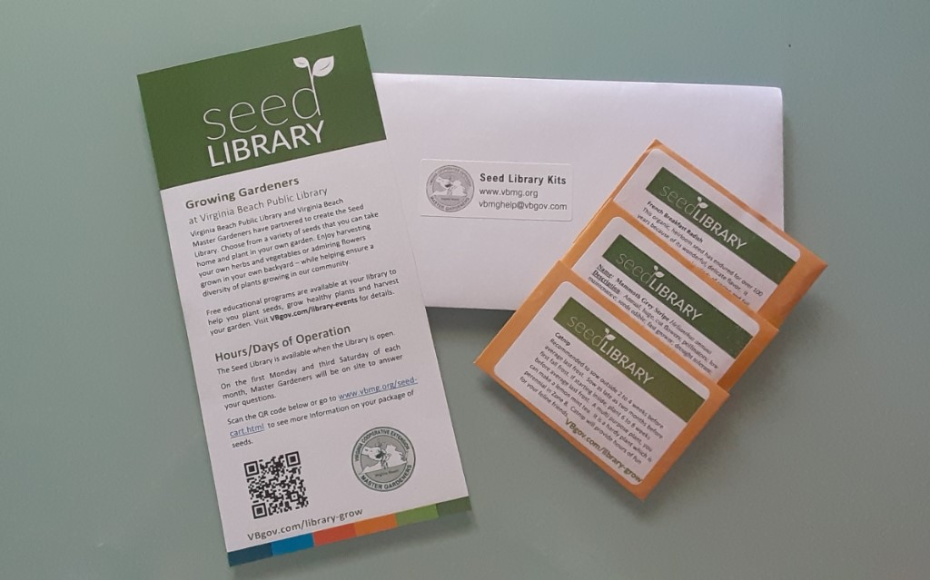 a brochure, seed packets, and envelope that will be distributed to each patron via the library information desk
